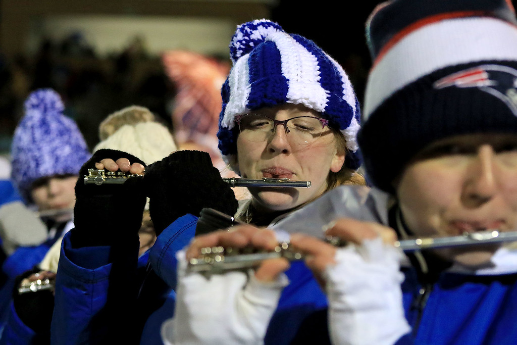 . The Thanksgiving day game with Leominster High School vs Fitchburg High School was played at  Doyle Field in Leomiinster on Wednesday night, November 21, 2018. LHS senior Margaret Sargent playes the flute during the half time show. SENTINEL & ENTERPRISE/JOHN LOVE