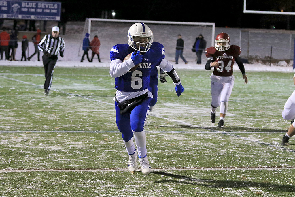 . The Thanksgiving day game with Leominster High School vs Fitchburg High School was played at  Doyle Field in Leomiinster on Wednesday night, November 21, 2018. LHS\'s JC Cora Jr. finds some running room. SENTINEL & ENTERPRISE/JOHN LOVE