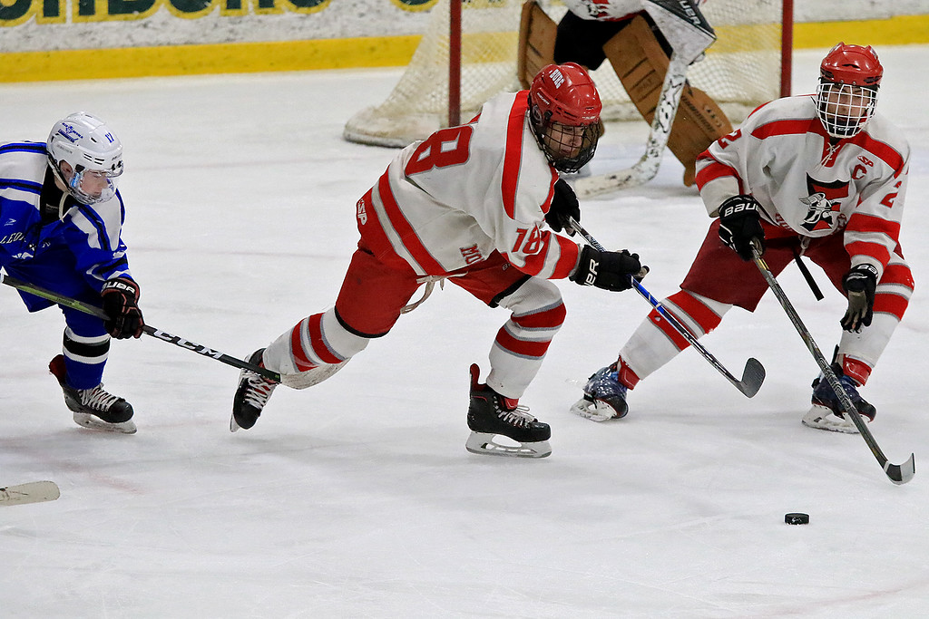 . Fitchburg/Monty Tech High School Hockey played Leominster High School on Friday afternoon at Fitchburg State University\'s Wallace Civic Center. FHS/Monty Tech\'s Anthony Lesperance takes off with the puck. SENTINEL & ENTERPRISE/JOHN LOVE