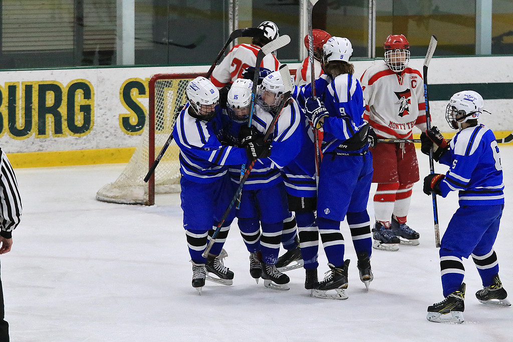 . Fitchburg/Monty Tech High School Hockey played Leominster High School on Friday afternoon at Fitchburg State University\'s Wallace Civic Center. LHS player celebrate one of their goals in the first period of the game. SENTINEL & ENTERPRISE/JOHN LOVE