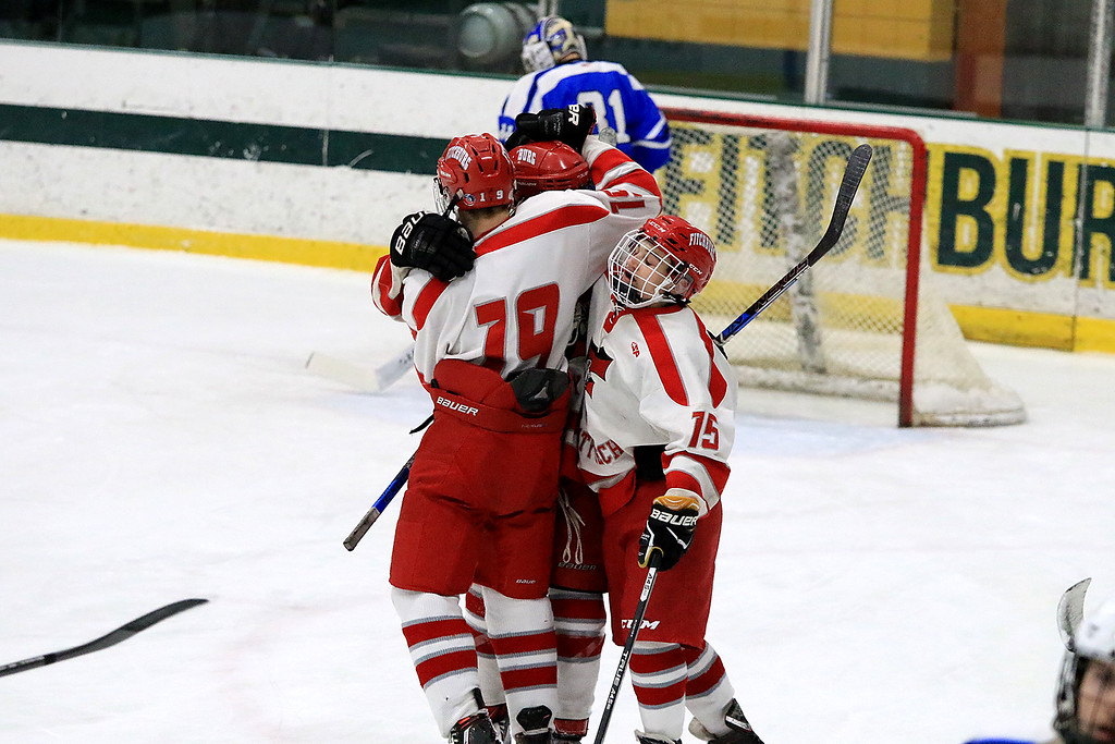 . Fitchburg/Monty Tech High School Hockey played Leominster High School on Friday afternoon at Fitchburg State University\'s Wallace Civic Center. LHS players celebrate a goal in the first period of the game. SENTINEL & ENTERPRISE/JOHN LOVE