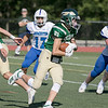 Nashoba Regional High School football played Leominster High School on Saturday afternoon, Sept. 28, 2019  in Bolton during the Ken Tucker Memorial Game. NRHS #21 Kenny Frommer. SENTINEL & ENTERPRISE/JOHN LOVE