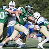 Nashoba Regional High School football played Leominster High School on Saturday afternoon, Sept. 28, 2019  in Bolton during the Ken Tucker Memorial Game. NRHS's #44 Connor Salmon. SENTINEL & ENTERPRISE/JOHN LOVE