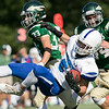 Nashoba Regional High School football played Leominster High School on Saturday afternoon, Sept. 28, 2019  in Bolton during the Ken Tucker Memorial Game. LHS's #5 LT Curtin SENTINEL & ENTERPRISE/JOHN LOVE