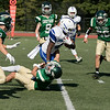 Nashoba Regional High School football played Leominster High School on Saturday afternoon, Sept. 28, 2019  in Bolton during the Ken Tucker Memorial Game. LHS's #4 Voshon Dixon taken down by NRHS's #1 Josh DiGeronimo. SENTINEL & ENTERPRISE/JOHN LOVE