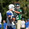 Nashoba Regional High School football played Leominster High School on Saturday afternoon, Sept. 28, 2019  in Bolton during the Ken Tucker Memorial Game. NRHS's Aidan Lee motions that he got the first down. SENTINEL & ENTERPRISE/JOHN LOVE
