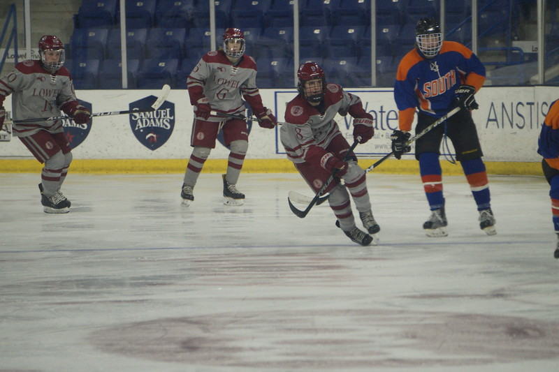 Lowell High School vs. Newton South at the Tsongas Arena Saturday, February 3, 2018 in Lowell, Ma. SUN/KATIE DURKIN