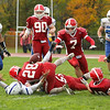 LHS Pat Gallagher lost the ball for a second on possible fumble but was able to pull it back in