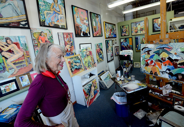 "Ann Luce shows her studio space and art work on September 5, 2012. She is one of the artists at the Art/Work/Space in Boulder.<br /> For more photos and a video of the art space, go to  <a href=""http://www.dailycamera.com"">http://www.dailycamera.com</a>.<br /> Cliff Grassmick  / September 5, 2012"