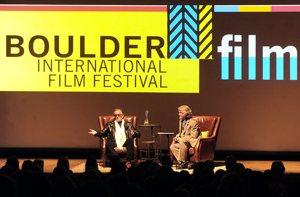 "Peter Fonda is interviewed by Ron Bostwick on Sunday night at the Boulder Theater.<br /> The closing night of the 2013 Boulder International Film Festival featured an interview with Peter Fonda.<br /> For more photos and a video of Peter Fonda, go to  <a href=""http://www.dailycamera.com"">http://www.dailycamera.com</a>.<br />  Cliff Grassmick  / February 17, 2013"