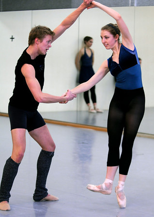 "Ballet001.jpg Stephen Straub, 27, dances with Annalise Woller, 22, during rehearsal for Boulder Ballet's contemporary concert ""On the Move"" in Boulder, Colorado on February 11, 2010<br /> Photo by Stephen Swofford / Boulder Camera"