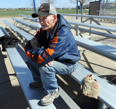 """Bob Morgenstern watches his boys practice on Wednesday, April 4, 2012.<br /> For a video and more photos of the team, go to  <a href=""""http://www.broomfieldenterprise.com"""">http://www.broomfieldenterprise.com</a>.<br /> Cliff Grassmick / April 4, 2012"""
