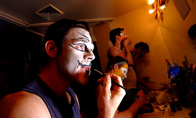 Michael Richman, at, left, who plays Macavity and Plato, applies his makeup in  the Boulder's Dinner Theatre dressing rooms on Tuesday April 26 2011. From left to right with Richman is Bob Hoppe, Matthew Peters, and Brian Norber. FOR MORE PHOTOS AND A VIDEO OF THE MAKEUP WORK GO TO WWW.DAILYCAMERA.COM Photo by Paul Aiken / The Camera / April 26