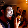 "Michael Richman, at, left, who plays Macavity and Plato, applies his makeup in  the Boulder's Dinner Theatre dressing rooms on Tuesday April 26 2011. From left to right with Richman is Bob Hoppe, Matthew Peters, and Brian Norber.<br /> FOR MORE PHOTOS AND A VIDEO OF THE MAKEUP WORK GO TO  <a href=""http://WWW.DAILYCAMERA.COM"">http://WWW.DAILYCAMERA.COM</a><br /> Photo by Paul Aiken / The Camera / April 26"