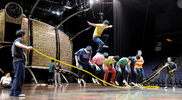 "The Chinese performers practice one of their jump rope routines on Wednesday.<br /> Cirque du Soleil performers  prepare for the Dralion performances at the 1ST Bank Center in Broomfield. There are eight shows from today to Feb. 12th.<br /> For a video and photos  of the rehearsal, go to  <a href=""http://www.dailycamera.com"">http://www.dailycamera.com</a>.<br /> Cliff Grassmick / February 8, 2012<br /> <br /> NO SALES"