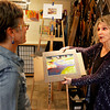 "Diana Tripp, right,  teaches Jocelyn Hunter, left, the art of painting with pastel, Friday, April 6, 2012, Lafayette.<br /> For more photos visit  <a href=""http://www.dailycamera.com"">http://www.dailycamera.com</a><br /> Photo by Derek Broussard"