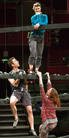 "F0118CLIMBING3.jpg F0118CLIMBING3<br /> The cast of ""Grace and the Art of Climbing"" works on a scene at the Denver Performing Arts Center on Saturday evening, January 12th, 2013. From top is Julie Jesneck, Alejandro Rodriguez, Christopher Kelly and Emily Kitchens.<br /> <br /> Photo by: Jonathan Castner"