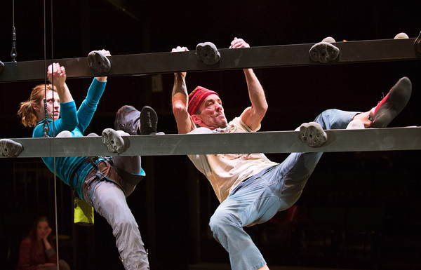 """F0118CLIMBING4.jpg F0118CLIMBING4<br /> Julie Jesneck and John Hutton work on a scene during a rehearsal of """"Grace and the Art of Climbing"""" at the Denver Performing Arts Center on Saturday evening, January 12th, 2013.<br /> <br /> Photo by: Jonathan Castner"""