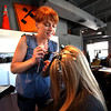 Kristin Barango dyes Courtney Sinclair's hair at Urban Pearl Salon and Spa in Boulder on Friday September 17, 2010.<br /> Sam Hall / The Camera / September 17, 2010