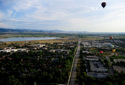 A view from Sunny Day Come Fly Away's balloon Sunday morning in Boulder, Colorado. July 15, 2012. Rachel Woolf/ For the Daily Camera
