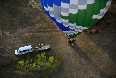 A hot air balloon is prepared  to launch Sunday morning on Nautilus Drive in Boulder, Colorado. July 15, 2012. Rachel Woolf/ For the Daily Camera