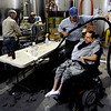 "Richard Lowe of Imagine!, helps Gerald Stopa get through the bottling area at Twisted Pine Brewery in Boulder.<br /> For more photos and a video of Stopa, go to  <a href=""http://www.dailycamera.com"">http://www.dailycamera.com</a>.<br /> Cliff Grassmick / April 19, 2012"