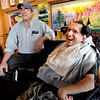 "Gerald Stopa, right, has a beer and a laugh after work with Imagine! staff member, Richard Lowe, at Twisted Pine Brewery in Boulder.<br /> For more photos and a video of Stopa, go to  <a href=""http://www.dailycamera.com"">http://www.dailycamera.com</a>.<br /> Cliff Grassmick / April 19, 2012"