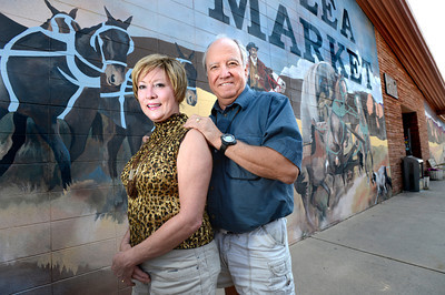Cheryl and Bill Hopkins started the Lafayette Collectibles and Flea Market in 1990. Here they pose outside the store in Lafayette on Tuesday April 21, 2012.  Photo by Paul Aiken / The Boulder Camera