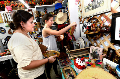 From left to right Leslie and Clair Nebeker look for items for Clair's new apartment at the Lafayette Collectibles and Flea Market on Tuesday April 21, 2012. The two are sisters. Cheryl and Bill Hopkins started the Lafayette Collectibles and Flea Market in 1990. Tuesday April 21, 2012.  Photo by Paul Aiken / The Boulder Camera