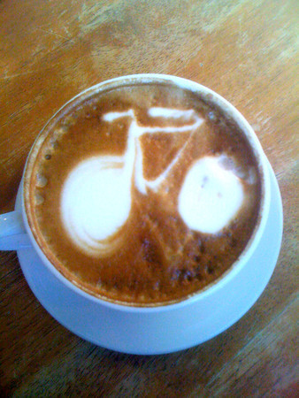 Latte art - bike<br /> Courtesy photo