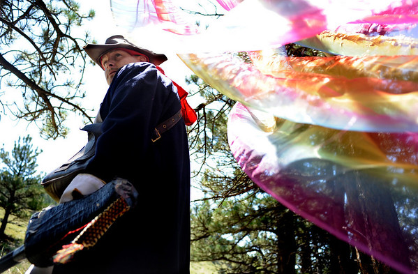 "F0931LARP9.jpg Brian Rothfuss, acting as Captain Jonathan Blades, goes through a portal during a Live Action Role Playing event at Heil Ranch, North of Boulder on Saturday, Aug 1, 2009. Watch the video at  <a href=""http://www.dailycamera.com"">http://www.dailycamera.com</a>.<br /> <br /> <br /> Photo by Mara Auster/Daily Camera"