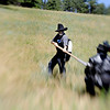 "F0931LARP15.jpg Morb Dan Frazier, left, and David McMillen, acting as Athos the Musketeer, fight during a Live Action Role Playing event at Heil Ranch, North of Boulder on Saturday, Aug 1, 2009.  Padded weapons are used to damage your opponent. Watch the videoat  <a href=""http://www.dailycamera.com"">http://www.dailycamera.com</a>.<br /> <br /> Photo by Mara Auster/Daily Camera"