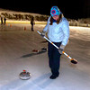 "Nancy Stubbs prepares to sweep in front of a rock during play of the Nederland Curling Club at the NedRINK - Nederland Ice & Racquet Park on Monday February 15, 2010.<br /> Photo by Paul Aiken / The Camera<br /> Watch a video fo the Nederland Curling Club at  <a href=""http://www.dailycamera.com"">http://www.dailycamera.com</a>"