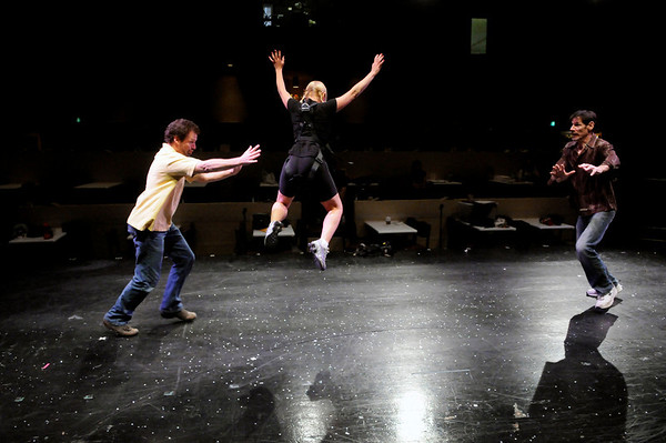 "Scott Beyette, left, Joanie Beyette, and Brian Norber rehearse a scene from the Boulder Dinner Theatre's upcoming production of Peter Pan on May 6, 2010. For a video of the actors in flight and a photo gallery, visit  <a href=""http://www.dailycamera.com"">http://www.dailycamera.com</a><br /> Stephen Swofford / Daily Camera"