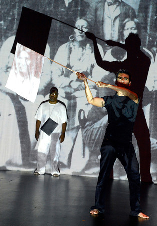 """Jose Aguila, front, and Victor Warring, left, perform on Tuesday, July 10, during the Rocks Karma Arrows dress rehearsal at the Black Box Theater in the Atlas building on the University of Colorado campus in Boulder. For more photos of the rehearsal go to  <a href=""""http://www.dailycamera.com"""">http://www.dailycamera.com</a><br /> Jeremy Papasso/ Camera"""