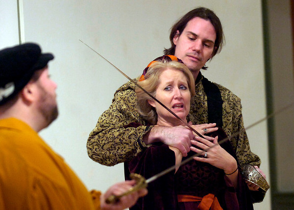 "Shakespeare Incorporated by the Coal Creek Community Theater of Louisville during rehearsal at the Louisville Center for the Arts on Wednesday evening February 10, 2010. FOR MORE PHOTOS GO TO  <a href=""http://WWW.DAILYCAMERA.COM"">http://WWW.DAILYCAMERA.COM</a><br /> Photo by Paul Aiken / The Camera / February 10, 2010"