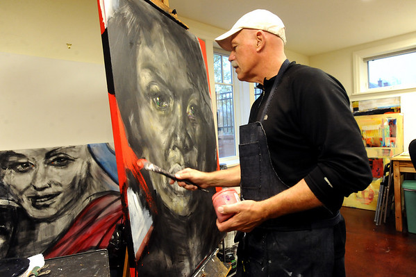 BRAINART<br /> William Stoehr works on a painting at his Boulder studio.<br /> Photo by Marty Caivano/Camera/Nov. 9, 2010