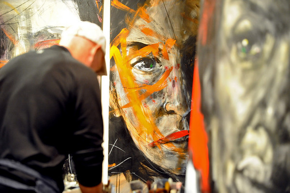 BRAINART<br /> William Stoehr uses discordant colors to bring alive the eyes in his portraits.<br /> Photo by Marty Caivano/Camera/Nov. 9, 2010
