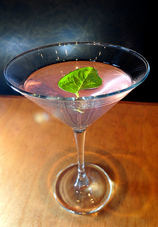 DRINKS<br /> A Strawberry Basil Martini from Salt Bistro, which includes gin, strawberry basil simple syrup, orange bitters and dry vermouth.<br /> Photo by Marty Caivano/May 9, 2011