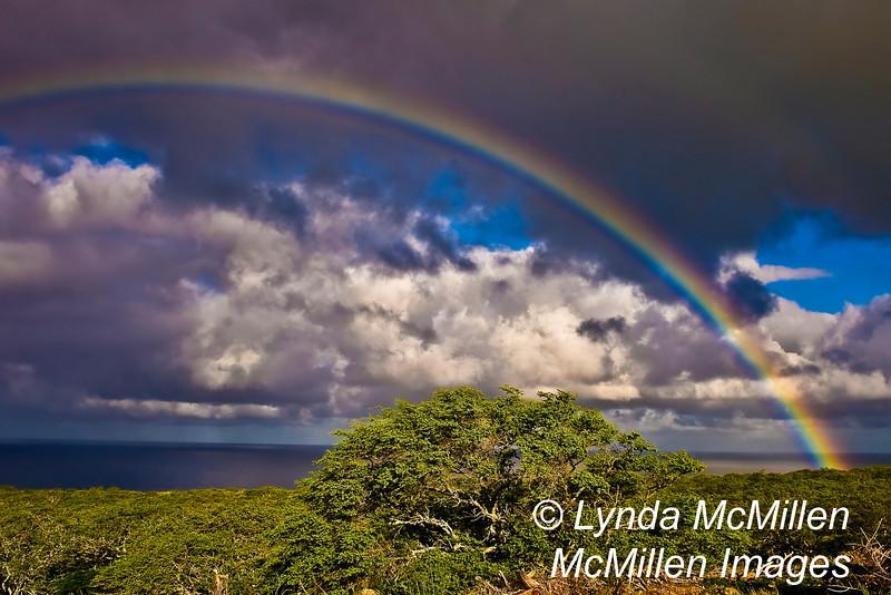Rainbow over Big Island, Hawaii.