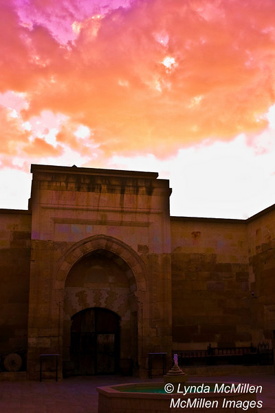 "Sunset at Caravanserai built in 1249 for ""silk road"" trade from Asia.  Cappadocia, Turkey."