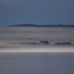 Houses and morning mist, Islay
