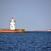 HARBOR BEACH LIGHTHOUSE WITH SHIP