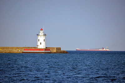 HARBOR BEACH LIGHTHOUSE WITH SHIP