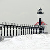 MICHIGAN CITY LIGHTHOUSE ON A COLD DAY