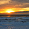 FROZEN SUNSET AT LAKE MICHIGAN, MUSKEGON
