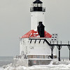 MICHIGAN CITY LIGHTHOUSE IN THE WINTER CLOSE UP