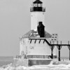 MICHIGAN CITY LIGHTHOUSE IN THE WINTER CLOSE UP B&W