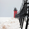 SOUTH HAVEN LIGHTHOUSE AFTER AN ICE STORM
