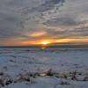 SUNSET ON FROZEN LAKE MICHIGAN